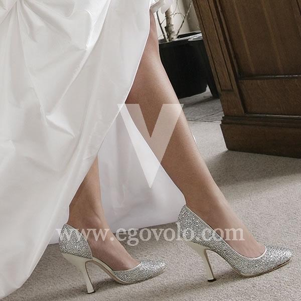 zapatos de novia plateados - egovolo