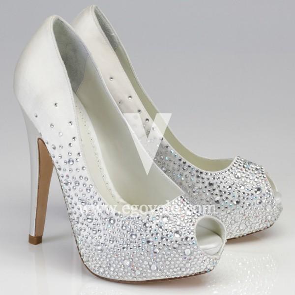 zapatos de novia peep toe - egovolo